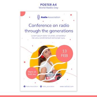 Szablon plakatu światowego dnia radia