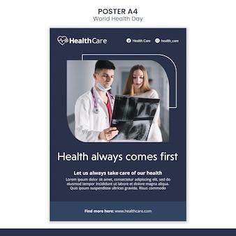Szablon plakatu światowego dnia zdrowia ze zdjęciem