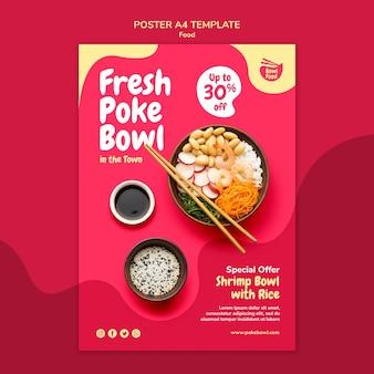 Szablon plakatu świeży poke bowl