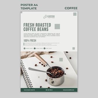 Szablon plakatu świeżych palonych ziaren kawy