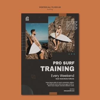 Szablon plakatu szkolenia profesjonalnego surfingu