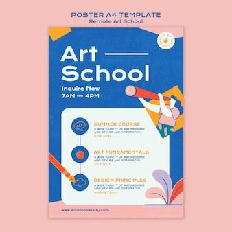 Szablon plakatu szkoły artystycznej zdalnej