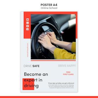 Szablon plakatu szkoły jazdy