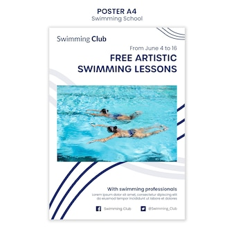 Szablon plakatu szkoły pływania