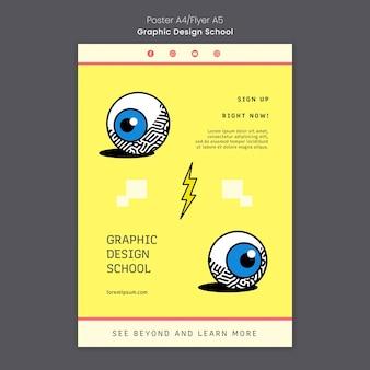 Szablon plakatu szkoły projektowania graficznego