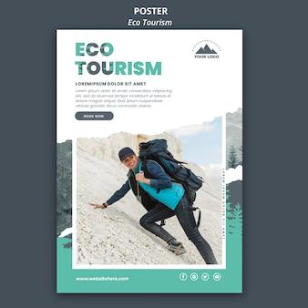 Szablon plakatu turystyki ekologicznej