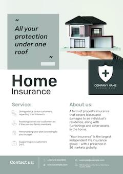 Szablon plakatu ubezpieczenia domu psd z edytowalnym tekstem