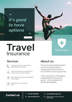 Szablon plakatu ubezpieczenia podróżnego psd z edytowalnym tekstem