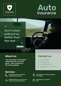 Szablon plakatu ubezpieczenia samochodu psd z edytowalnym tekstem