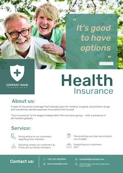 Szablon plakatu ubezpieczenia zdrowotnego psd z edytowalnym tekstem