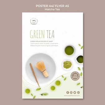 Szablon plakatu / ulotki zielonej herbaty