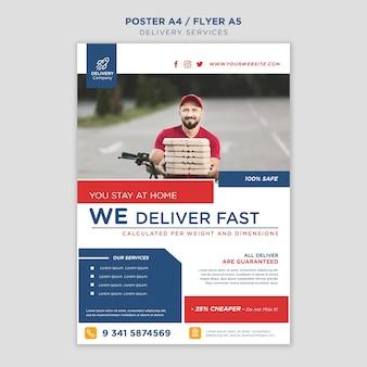 Szablon plakatu usług dostawy