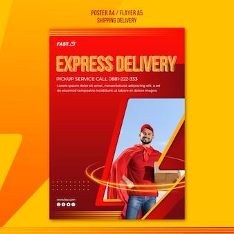 Szablon plakatu usługi dostawy ekspresowej