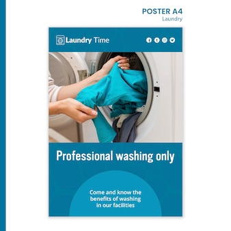 Szablon plakatu usługi pralni