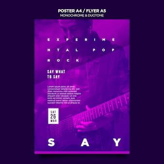Szablon plakatu w duotone z muzykami na koncercie
