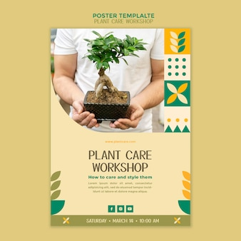 Szablon plakatu warsztat pielęgnacji roślin