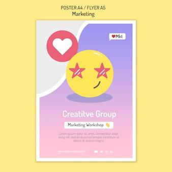 Szablon plakatu warsztatów marketingowych z emoji