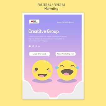 Szablon plakatu warsztatów marketingowych z uśmiechniętymi twarzami