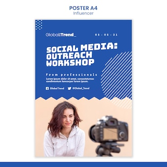 Szablon plakatu warsztatów mediów społecznościowych