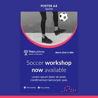 Szablon plakatu warsztatów piłkarskich