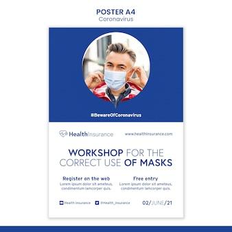Szablon plakatu warsztatowego dotyczącego koronawirusa