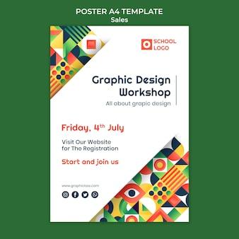 Szablon plakatu warsztatowego projektowania graficznego