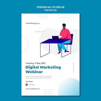 Szablon plakatu webinar marketingu cyfrowego