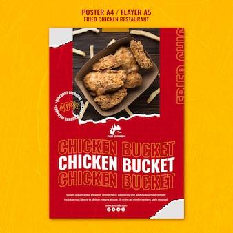 Szablon plakatu wiadro smażonego kurczaka