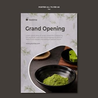 Szablon plakatu wielkiego otwarcia herbaty matcha