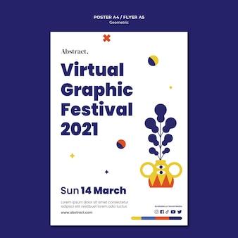 Szablon plakatu wirtualnego festiwalu grafiki