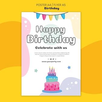 Szablon plakatu wszystkiego najlepszego z okazji urodzin