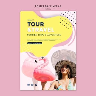 Szablon plakatu wycieczki i podróży
