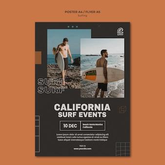 Szablon plakatu wydarzeń surfingowych w kalifornii