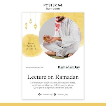 Szablon plakatu wydarzenia ramadan ze zdjęciem