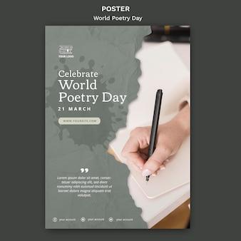 Szablon plakatu wydarzenia światowego dnia poezji ze zdjęciem