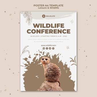 Szablon plakatu wypoczynku i dzikiej przyrody