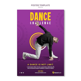 Szablon plakatu wyzwanie tańca