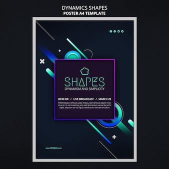Szablon plakatu z dynamicznymi geometrycznymi kształtami neonowymi