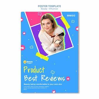 Szablon plakatu z najlepszymi recenzjami produktu
