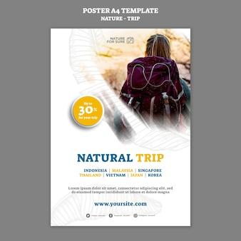 Szablon Plakatu Z Naturalną Wycieczką Darmowe Psd
