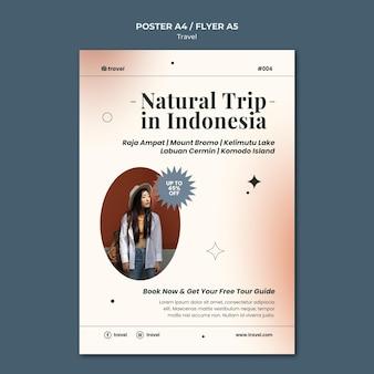 Szablon plakatu z naturalnymi podróżami w czasie podróży