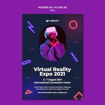 Szablon plakatu z neonowymi okularami wirtualnej rzeczywistości