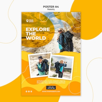 Szablon plakatu z odkrywaniem świata