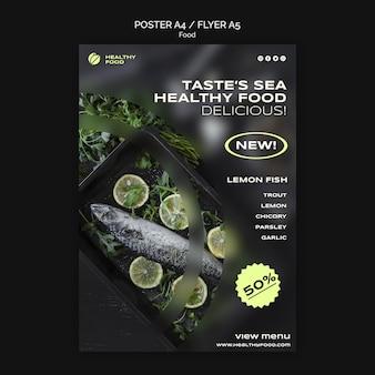 Szablon plakatu z owocami morza