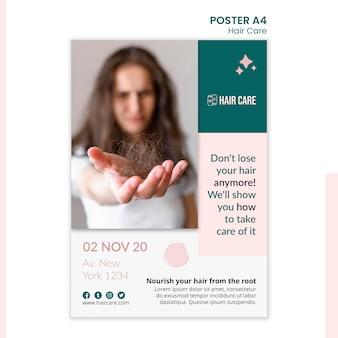 Szablon plakatu z poradami dotyczącymi pielęgnacji włosów