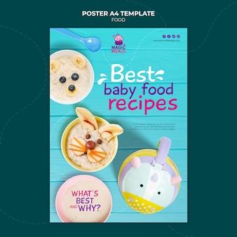 Szablon plakatu z pysznymi przepisami na jedzenie dla dzieci