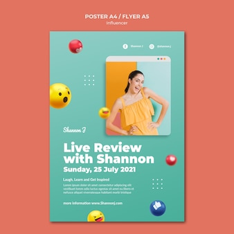 Szablon plakatu z recenzjami na żywo