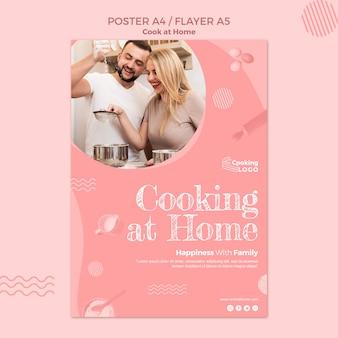 Szablon plakatu z tematem gotowania w domu