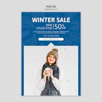 Szablon plakatu z wyprzedażami zimowymi