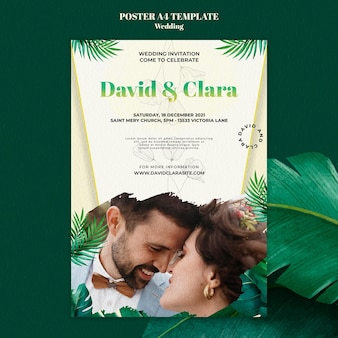 Szablon plakatu zaproszenia na ślub